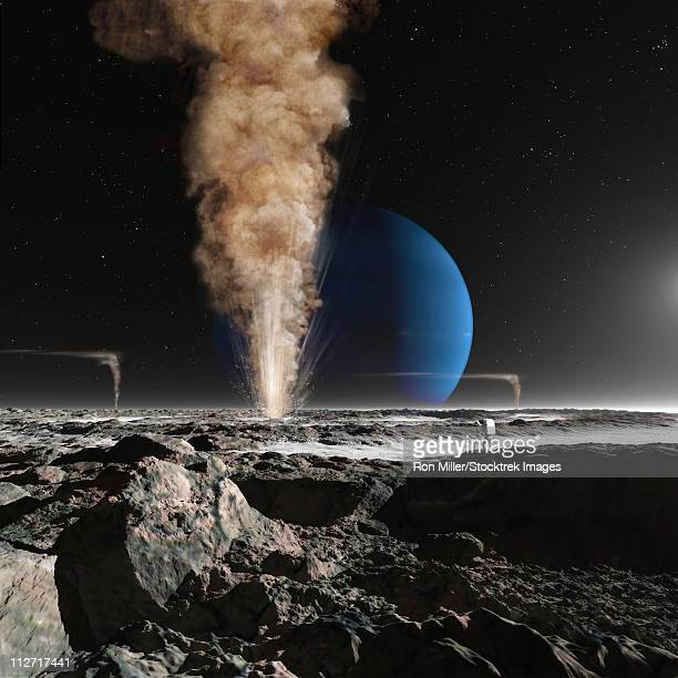 A future astronaut is observing the eruption of one of Triton's giant cryogeysers. Triton is the giant moon of Neptune.