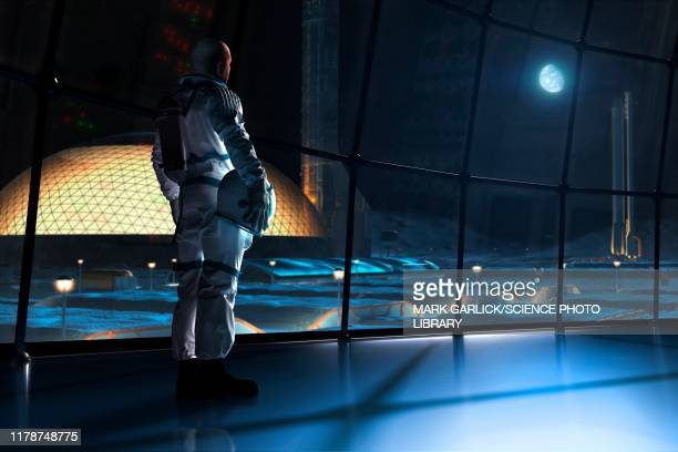 future base on the moon, illustration - space station stock illustrations