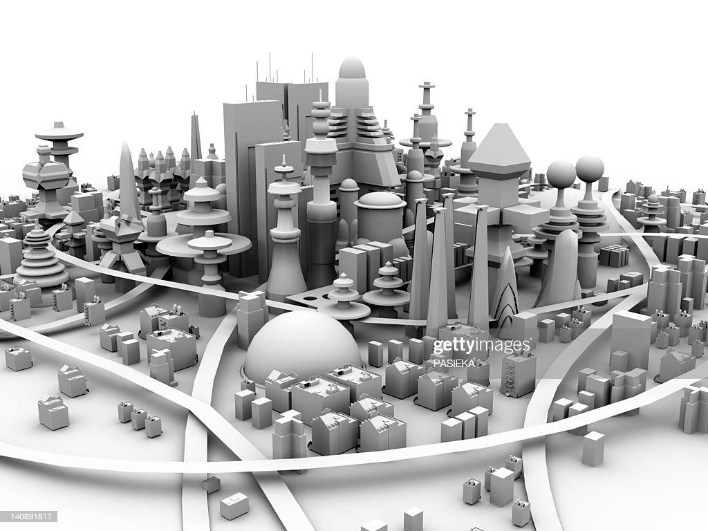Future city, artwork : Stock Illustration