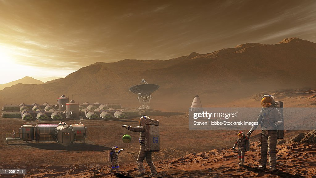 Future Mars colonists playing with children on Mars, a place they call home. : Stock Illustration
