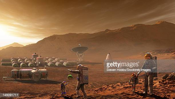 future mars colonists playing with children on mars, a place they call home. - human settlement stock illustrations
