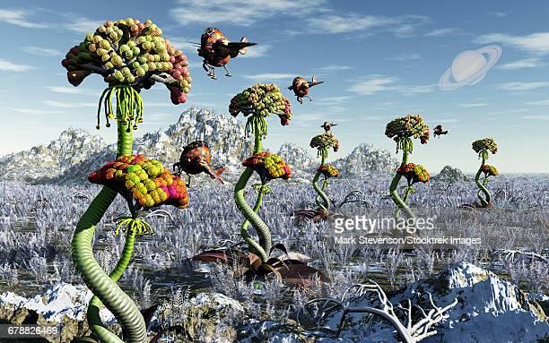 A futuristic alien plant harvest.