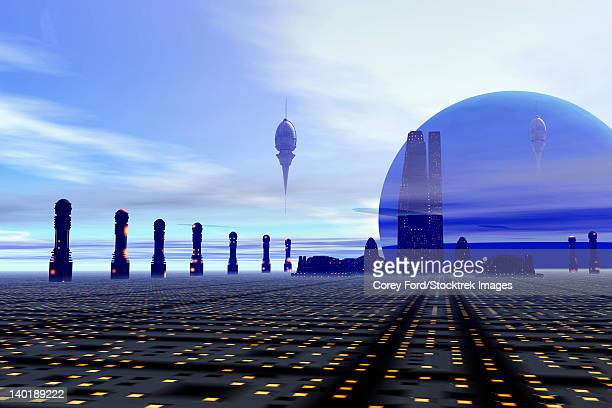 futuristic city on a planet at the edge of the milky way. - colony stock illustrations