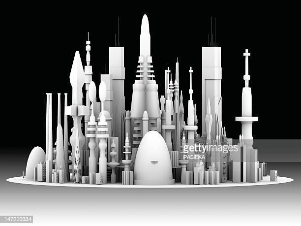 illustrations, cliparts, dessins animés et icônes de futuristic cityscape, artwork - ville futuriste