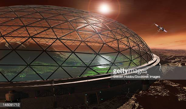Futuristic concept of Gale Crater enclosed in a protective dome to create an ecosphere.