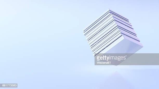 futuristic cube, 3d rendering - hovering stock illustrations
