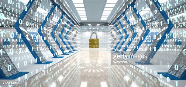 Futuristic digital room with padlock and binary code, 3d illustration