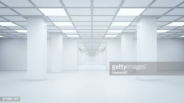 illustrazioni stock, clip art, cartoni animati e icone di tendenza di futuristic empty storehouse, 3d rendering - copy space