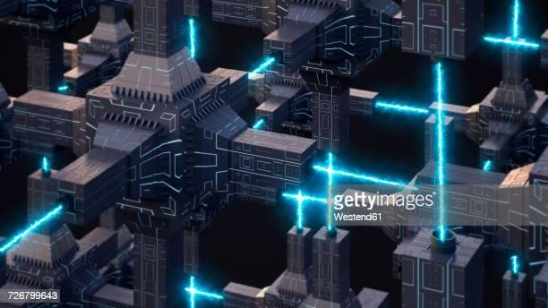 Futuristic energy network, 3d rendering