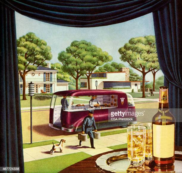 futuristic food delivery truck - scotch whiskey stock illustrations, clip art, cartoons, & icons
