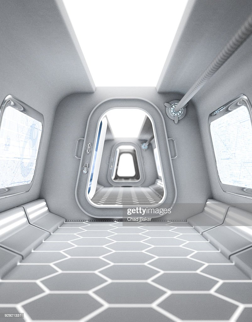 A futuristic hallway leading to a bright doorway : stock illustration