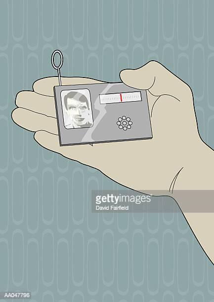 futuristic id card - security pass stock illustrations, clip art, cartoons, & icons