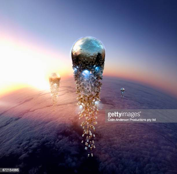 futuristic pixelated balls in sky - melbourne stock illustrations