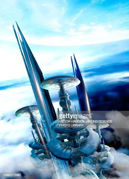 ilustrações, clipart, desenhos animados e ícones de futuristic planet, illustration - spire