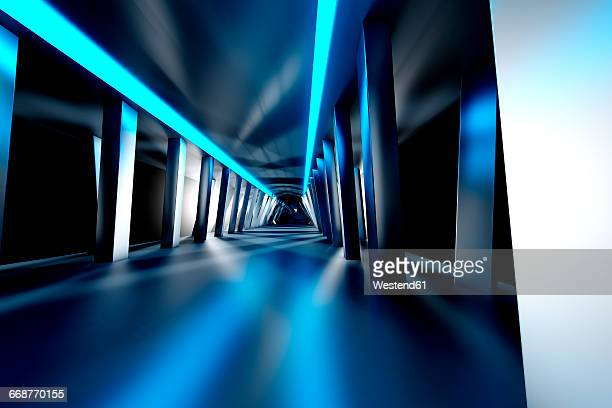 futuristic room, 3d rendering - corridor stock illustrations, clip art, cartoons, & icons