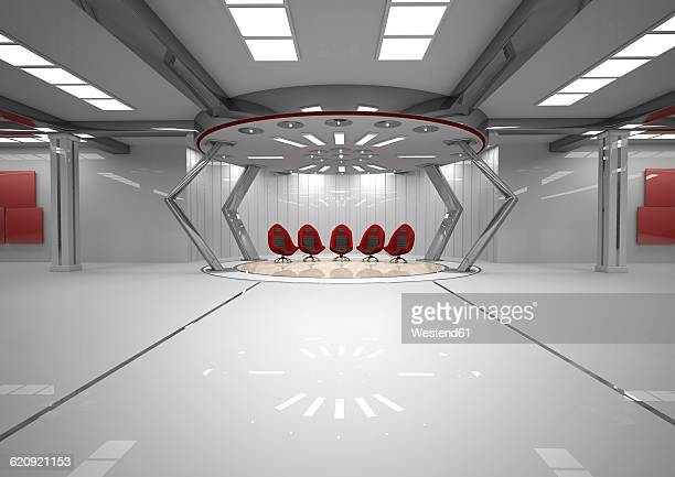 Futuristic room with five red swivel chairs, 3D Rendering