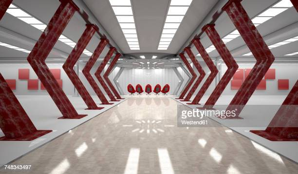 futuristic room with five red swivel chairs, 3d rendering - office chair stock illustrations, clip art, cartoons, & icons