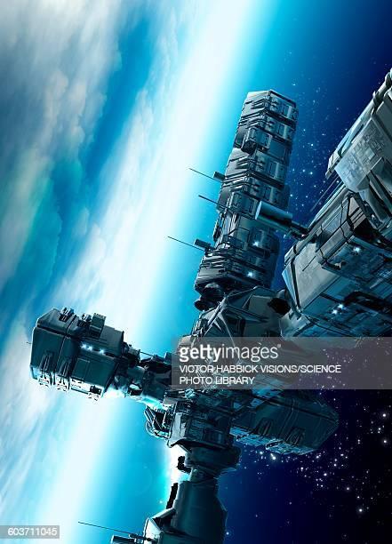 Futuristic space station, illustration