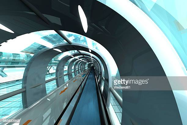 futuristic subway or train station, 3d rendering - transportation stock illustrations