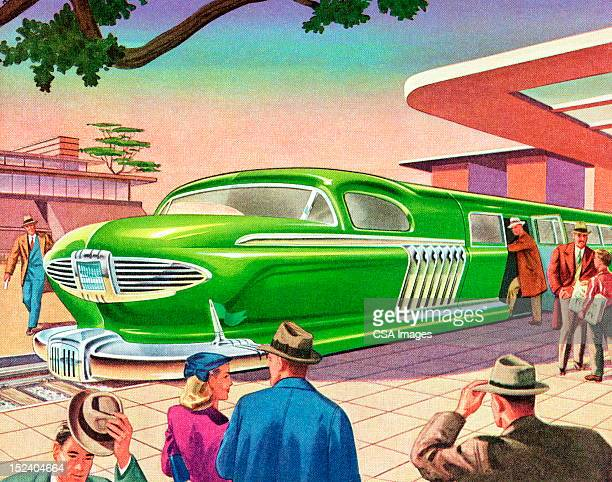 illustrations, cliparts, dessins animés et icônes de futuriste train - ville futuriste