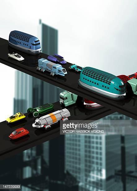 futuristic transport, artwork - traffic stock illustrations