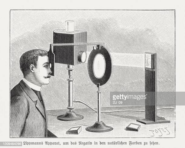 gabriel lippmann's (1845-1921) apparatus, wood engraving, published in 1895 - inventor stock illustrations