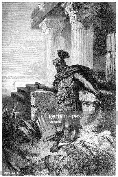 gaius marius among ruins of carthage - roman stock illustrations, clip art, cartoons, & icons