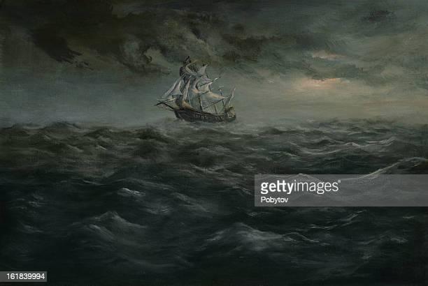ilustrações, clipart, desenhos animados e ícones de gale - tall ship
