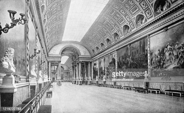 galerie des batailles at the chateau de versailles in versailles, france - 19th century - chateau de versailles stock illustrations