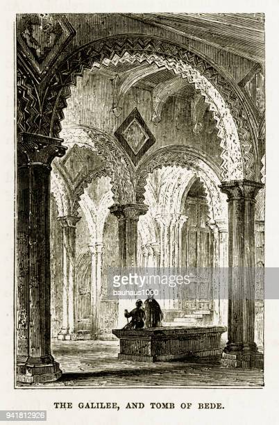 Galilee and Tomb of Bede, Durham Cathedral in Durham, England Victorian Engraving, 1840