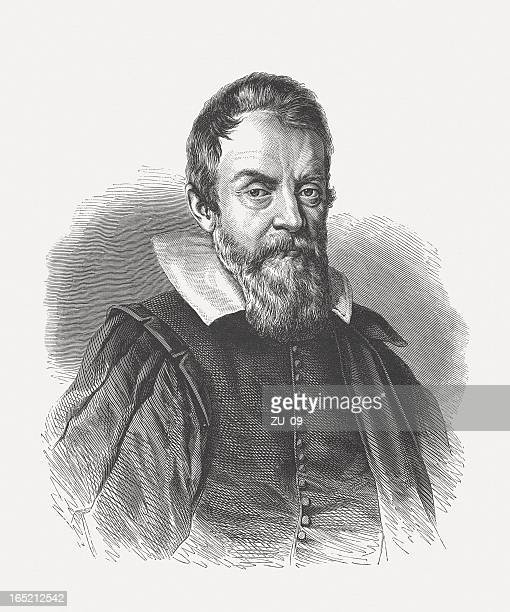 galileo galilei (1564-1642), wood engraving, published in 1864 - physicist stock illustrations, clip art, cartoons, & icons