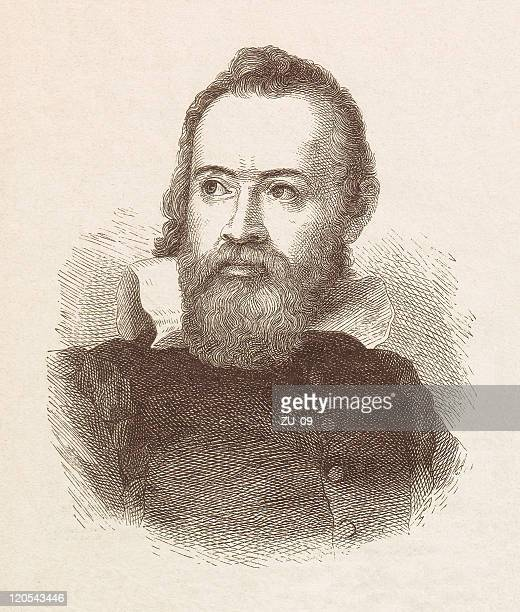 galileo galilei (1564-1642), wood engraving, published in 1877 - physicist stock illustrations, clip art, cartoons, & icons