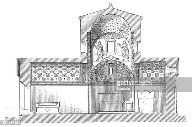 galla placidia's tomb in ravenna - chapel stock illustrations, clip art, cartoons, & icons