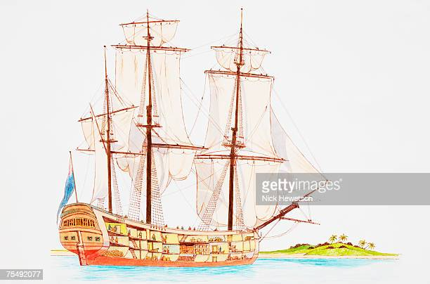 Galleon, large multi-deck sailing ship moored in waters off island