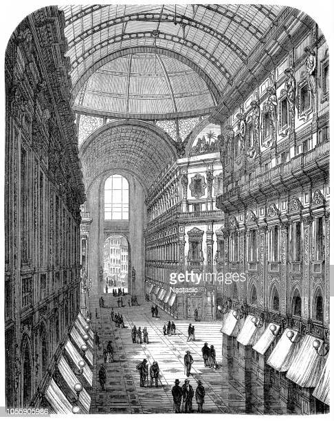 galleria vittorio emanuele ii in milan, italy - milan stock illustrations, clip art, cartoons, & icons