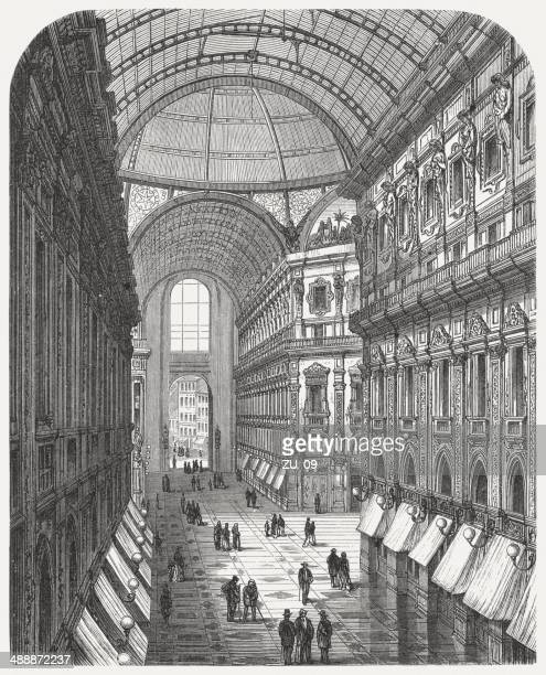 galleria vittorio emanuele ii in milan, italy, published in 1876 - milan stock illustrations, clip art, cartoons, & icons
