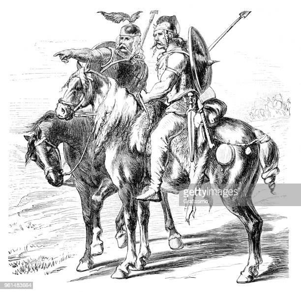gallic soldiers cavalier on horses - cavalier cavalry stock illustrations, clip art, cartoons, & icons