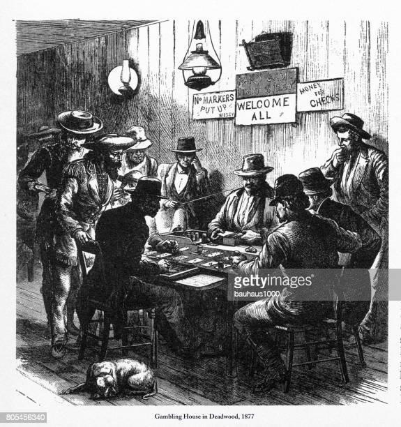 Gambling House in Deadwood, Dakota Territory Engraving, 1877