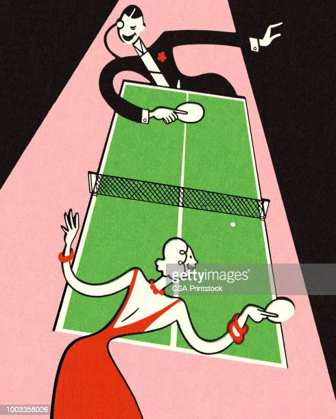 game of ping pong - table tennis stock illustrations