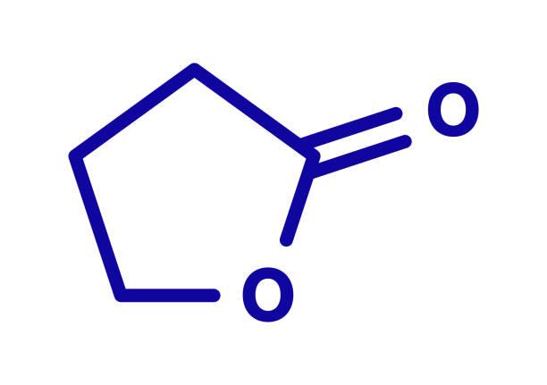Gamma-butyrolactone solvent molecule, illustration