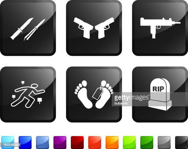 ilustraciones, imágenes clip art, dibujos animados e iconos de stock de módulo la violencia y los asesinatos sin royalties de vector icon set pegatinas - submachine gun