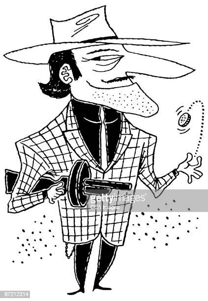 gangster - flipping a coin stock illustrations, clip art, cartoons, & icons