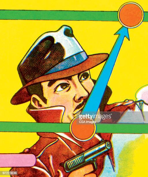 gangster with gun - privateinvestigator stock illustrations