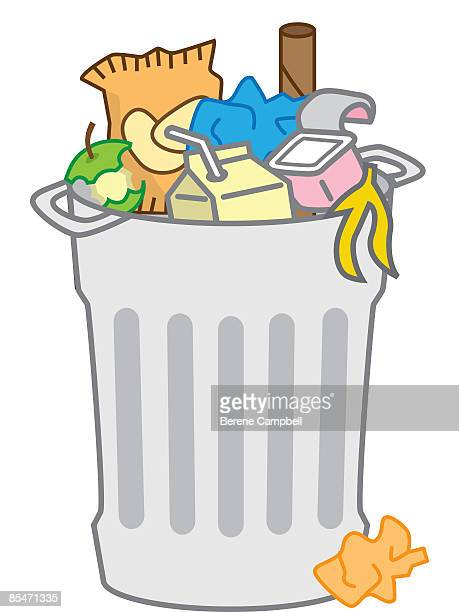 a garbage can full of trash - imagem a cores stock illustrations