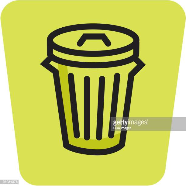 garbage can - wastepaper basket stock illustrations, clip art, cartoons, & icons