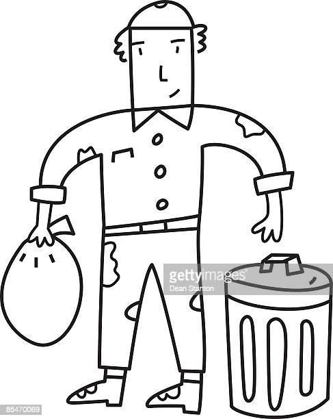 ilustrações de stock, clip art, desenhos animados e ícones de a garbage man - gari