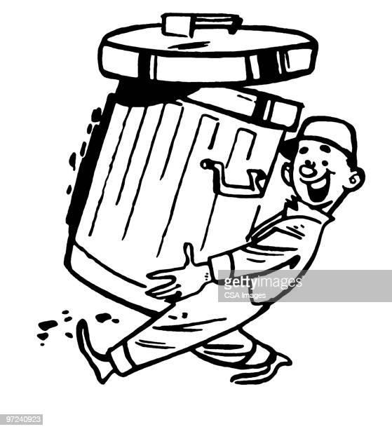 garbage man - wastepaper basket stock illustrations, clip art, cartoons, & icons