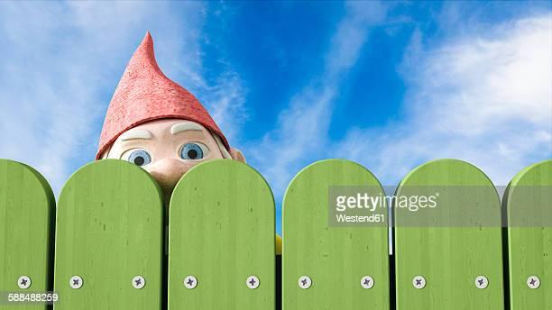 garden gnome peeking over a green fence, 3d rendering - human representation stock illustrations