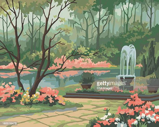 garden scene paint by number - fountain stock illustrations, clip art, cartoons, & icons