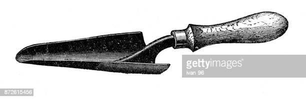 garden shovel - trowel stock illustrations, clip art, cartoons, & icons